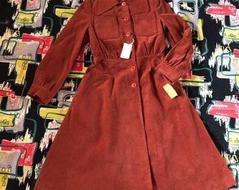 1960s deadstock orange corduroy princess coat nwt
