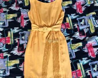 1950s mustard yellow wiggle fringe dress