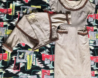 1950s grey and brown wiggle dress set