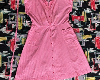 1940s pink and white striped  house dress
