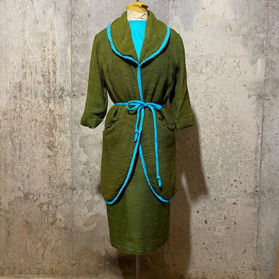 1960s  Blue and Green Dress With Matching Coat