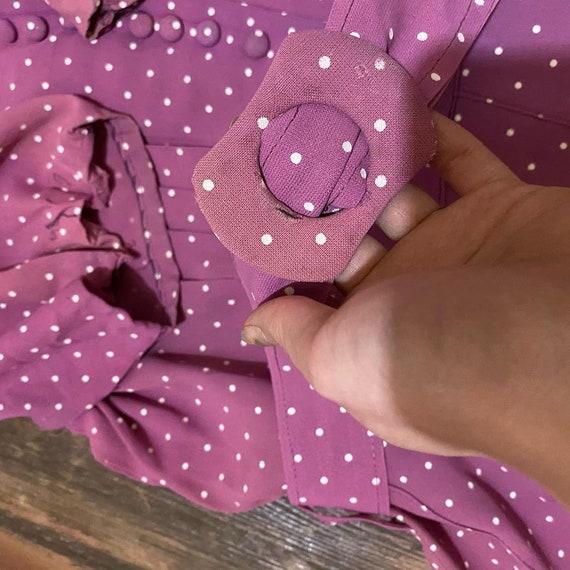1930s mauve polkadot dress - image 6