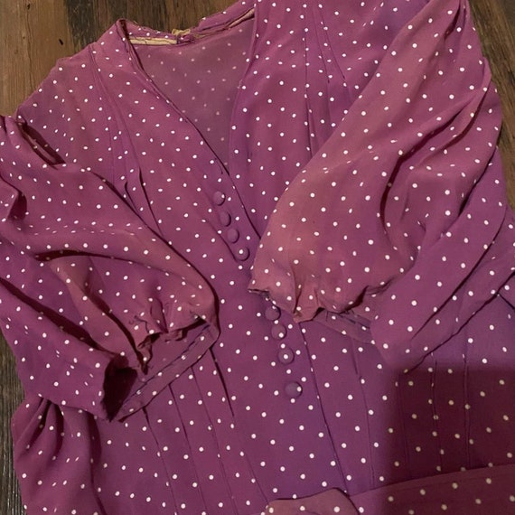 1930s mauve polkadot dress - image 5