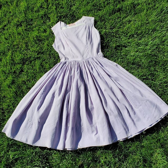 1950sPurple Gingham Sleeveless Fita and Flare Dr