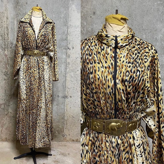1960s cheetah print kaftan front zip maxi dress