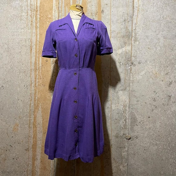 1930s 1940s Lilac Puff Sleeve Dress