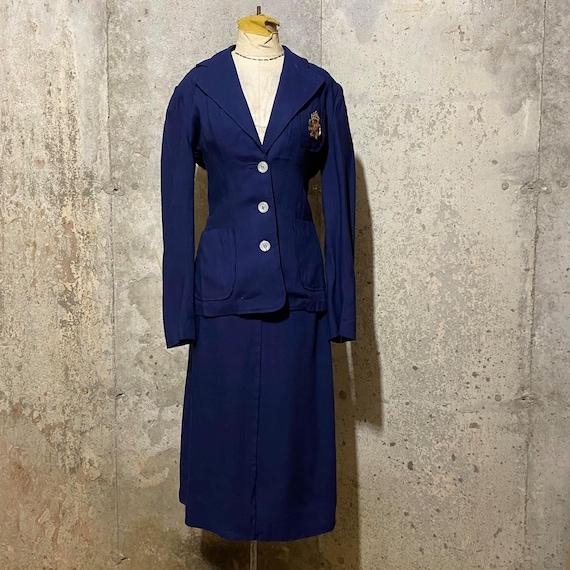 1950s  Deep Blue Linen Suit With Metallic Decals