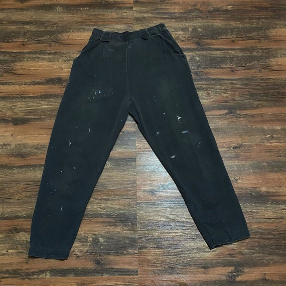 1940s 1950s Black Denim Buck Back High Waisted Pan