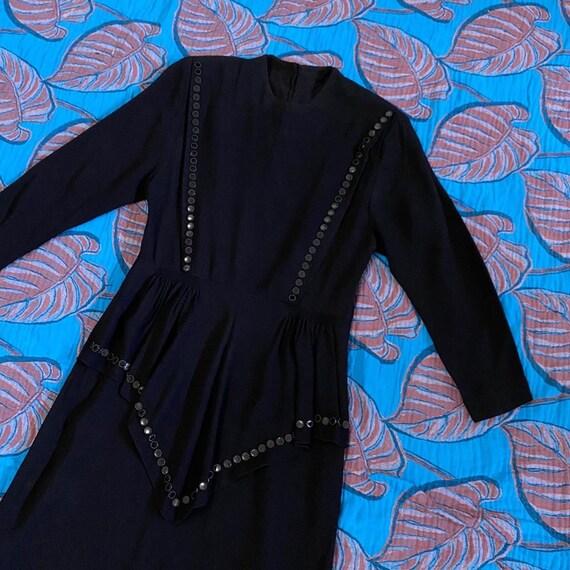 1940s Black Crepe Rayon Studded Dress