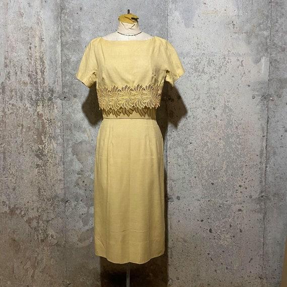 1950s  Light Yellow Floral Dress Set