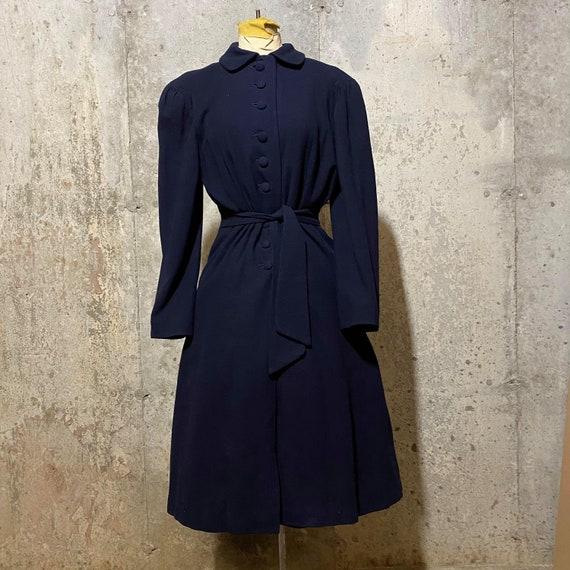 1930s  Navy Blue Gathered Sleeve Princess Coat