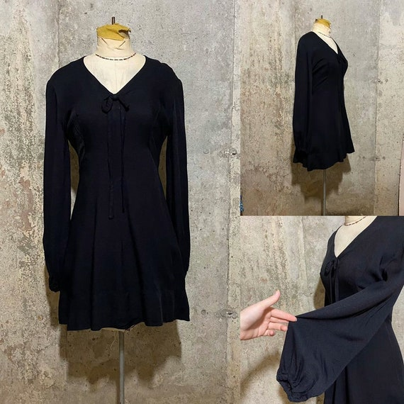 1960s Black Witchy Mini Dress With Long Bishop Sle