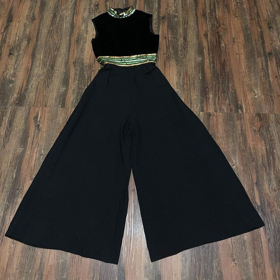 1970s Black Pallazo Pant Jump Suit With Striped Se