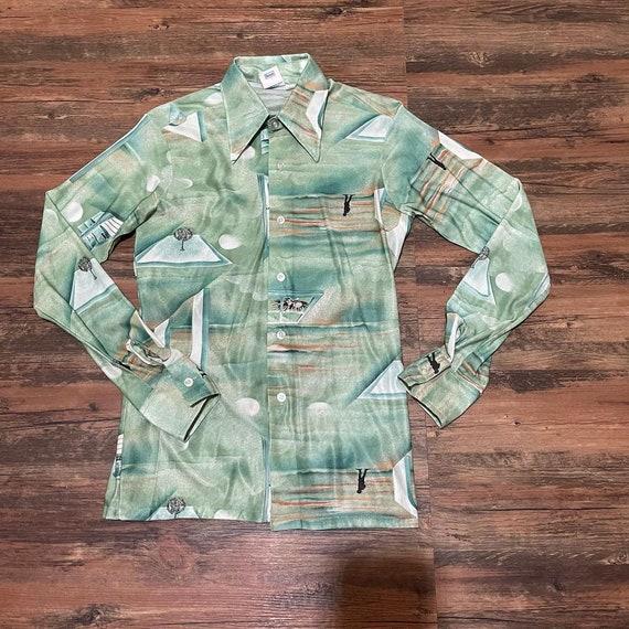 1970s green novelty print long sleeve shirt