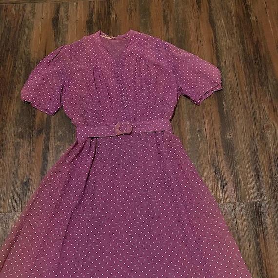 1930s mauve polkadot dress - image 2