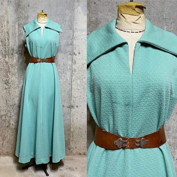 1970s Seafoam Green Sleeveless Maxi Dress