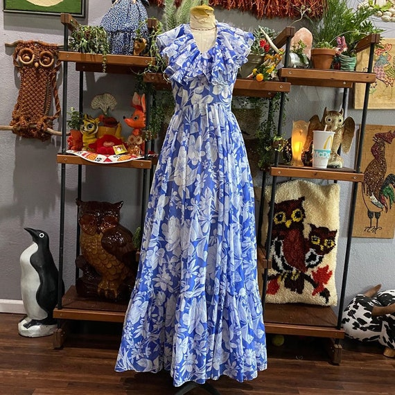 1970s Blue floral Halter Maxi Dress by Denise Are