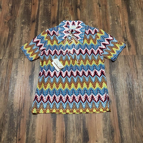 1960s  Deadstock Psychedelic Knit Polo Blouse