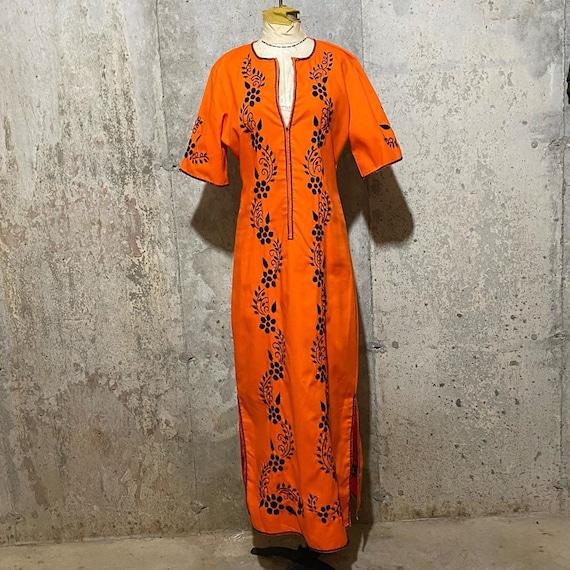 1960s Neon Orange and Black Caftan