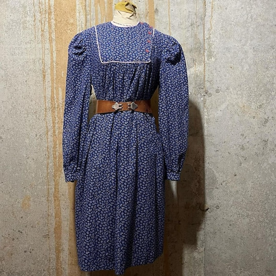 1970s Blue Calico Print Long Sleeve Oversized Dres