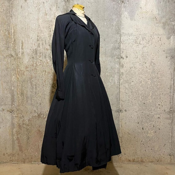 1940s 1950s Black Princess Coat With Scalloped Col