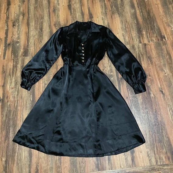 1940s  Black Satin Bishop Sleeve Dress
