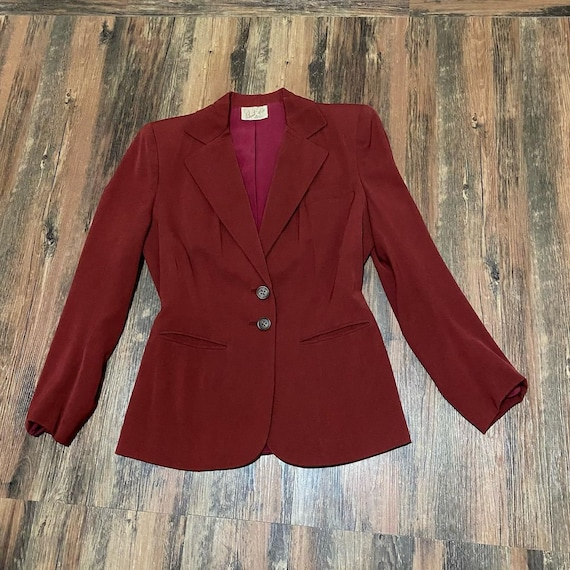 1940s blood red gab suit jacket
