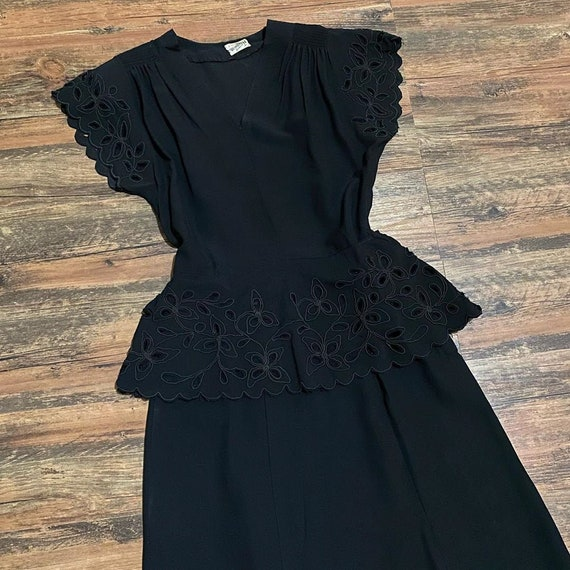 1940s Black Rayon Cutout Dress