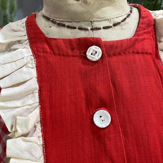 1930s Red and White Gingham Drop Waist Dress - image 5