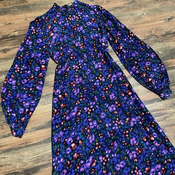 1970s purple floral maxi dress with bishop sleeves