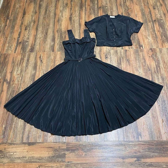 1950s black koret of california 3 piece dress set