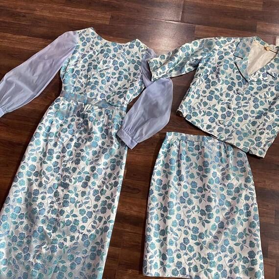 1960s Four Piece Blue Floral Set Two Skirts, Blou… - image 2