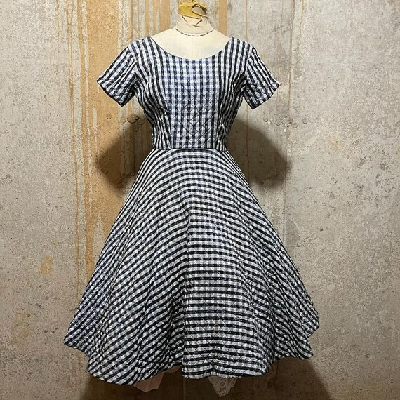 1950s blue plaid quilted circle skirt dress