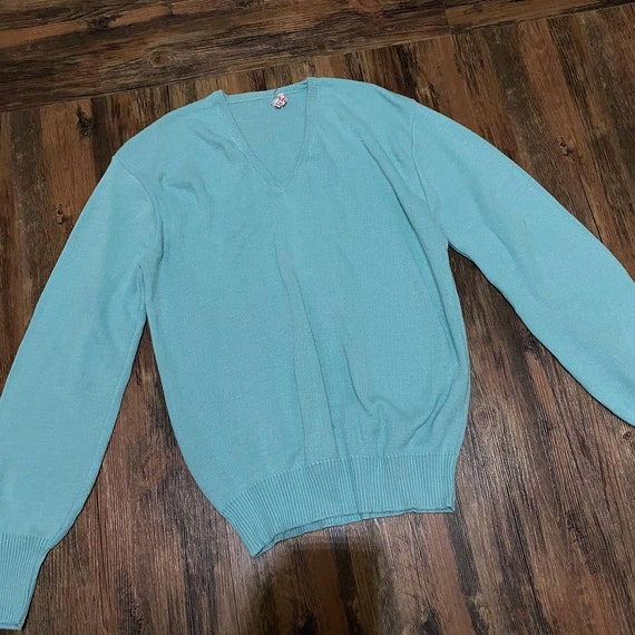 1950s Ribbed Robins Egg Blue Sweater
