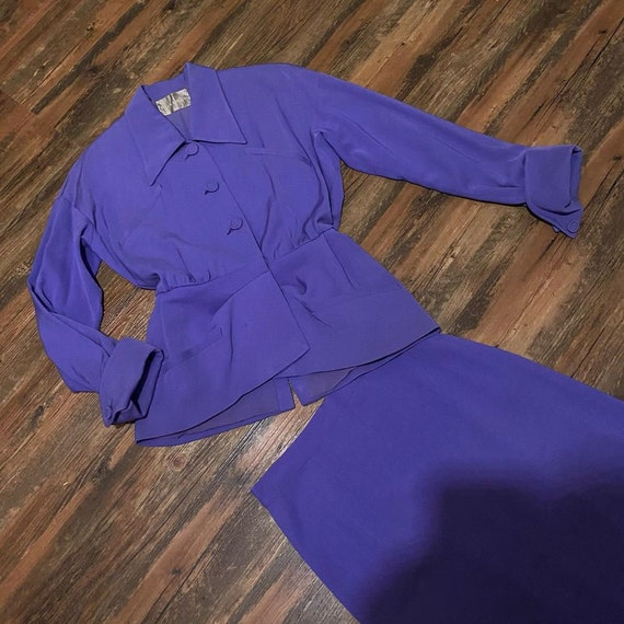 1940s Forstmann Purple Lilac Gabardine Suit - image 3
