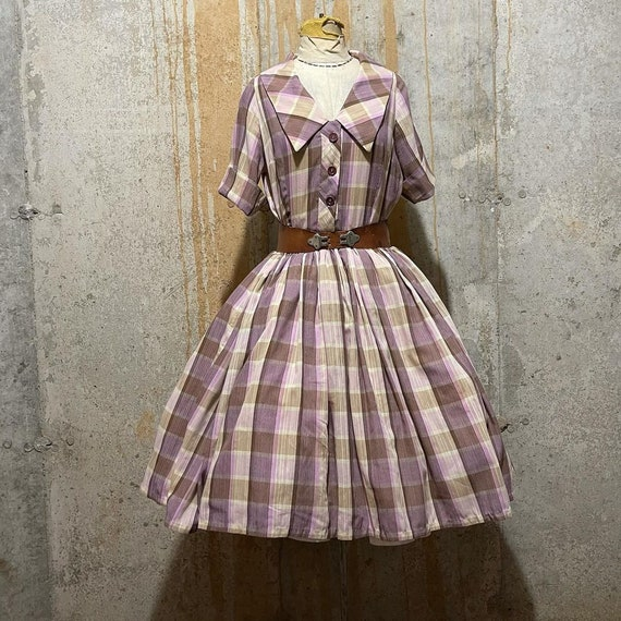 1950s purple and brown plaid fit and flare