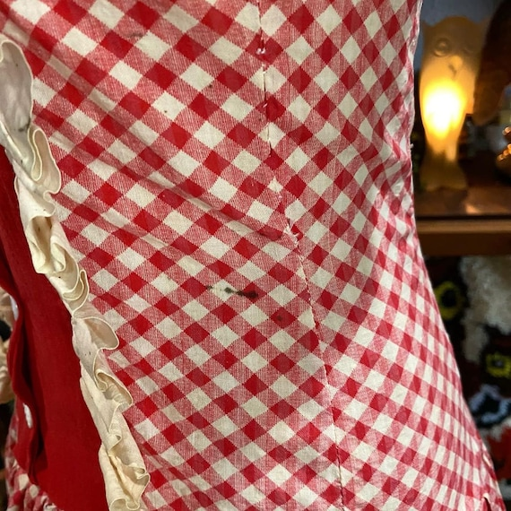 1930s Red and White Gingham Drop Waist Dress - image 10