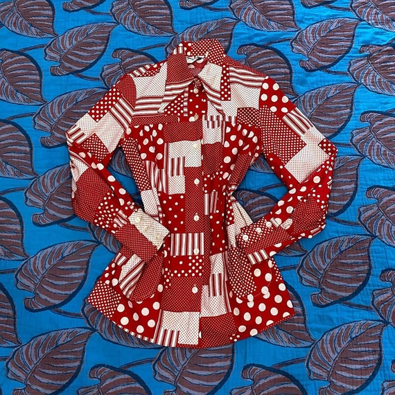 1960s Red and White Patchwork Print Bishop Sleeve