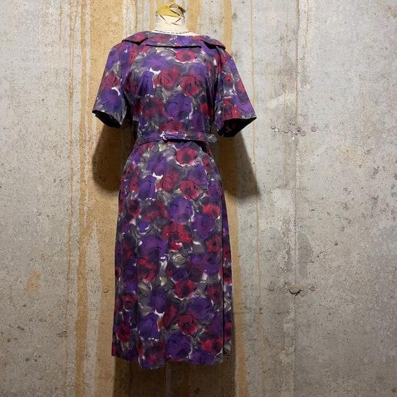 Med 60s Vintage Floral Black Purple and Pink Maxi Dress 1960s Medium