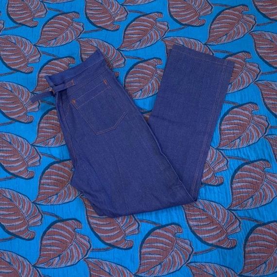 1970s Deadstock Midwash Denim Buckle Back Pants