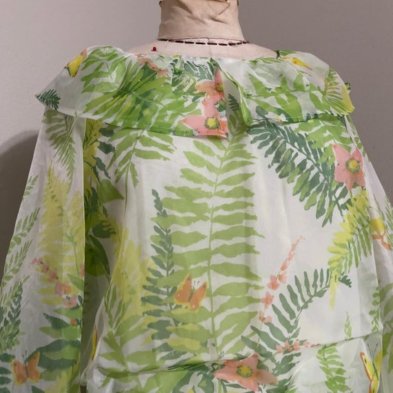 1970s Novelty Butterfly and Fern Bouquet Print Bi… - image 4