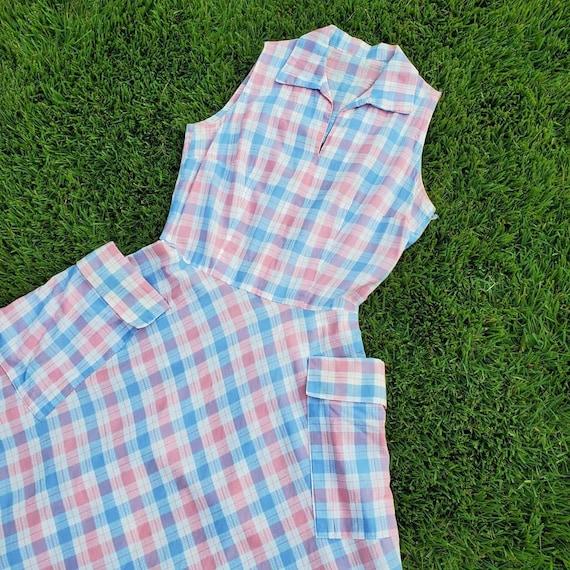 1940sBlue and pink pastel plaid sleeveless dress