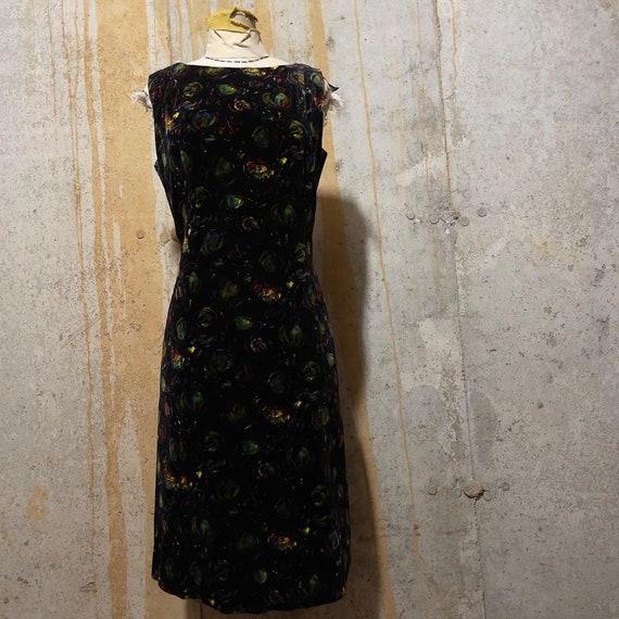 1960s multicolor velvet sleeveless dress