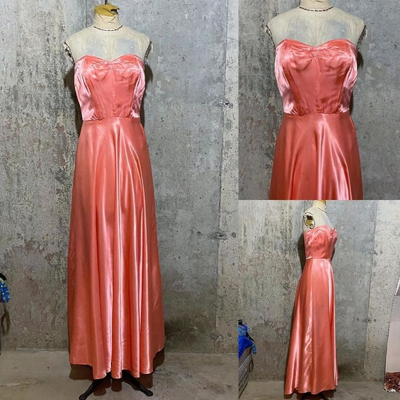 1930s Barbie Pink Satin Strapless Gown