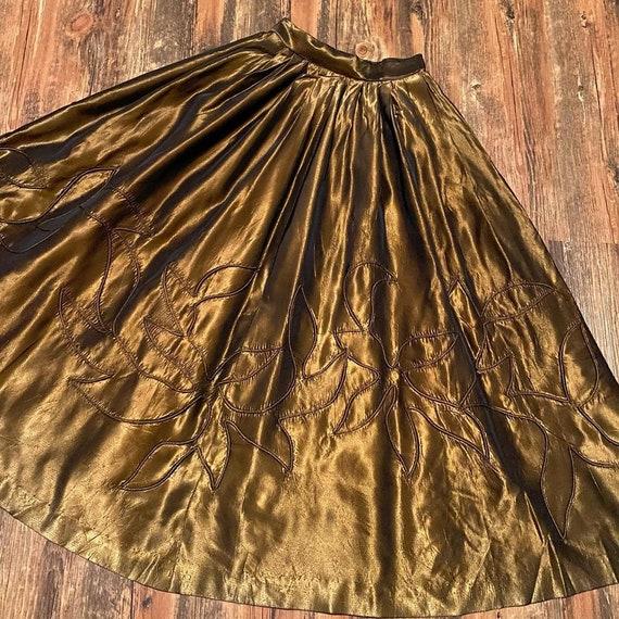 1950s copper floral extra full skirt