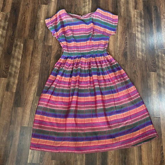 1950s rainbow striped short sleeve fit and flare d