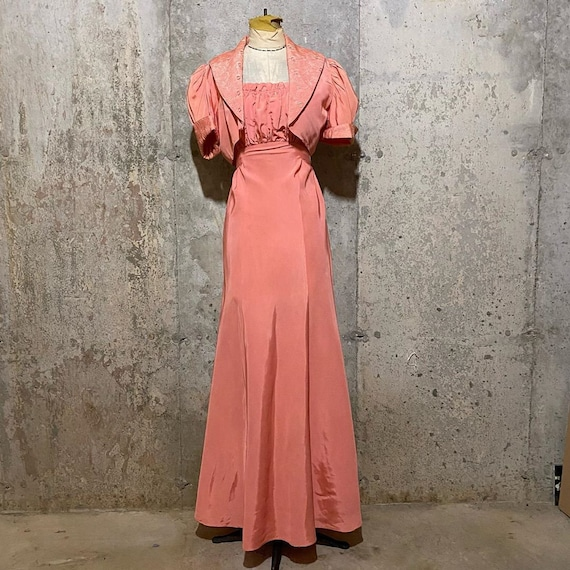 1930s Pink Maxi Dress With Matching Bolero