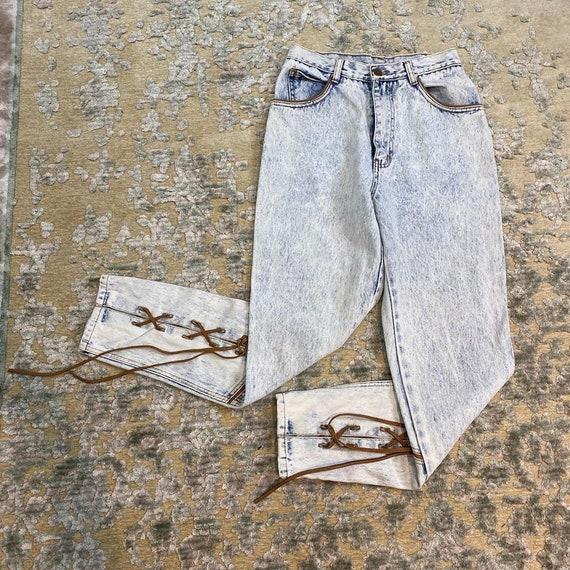 1980s acid wash high waist pants with leather cors