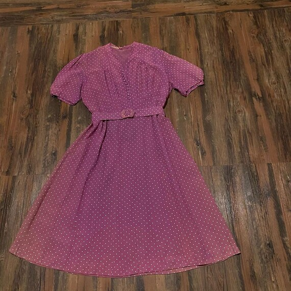 1930s mauve polkadot dress