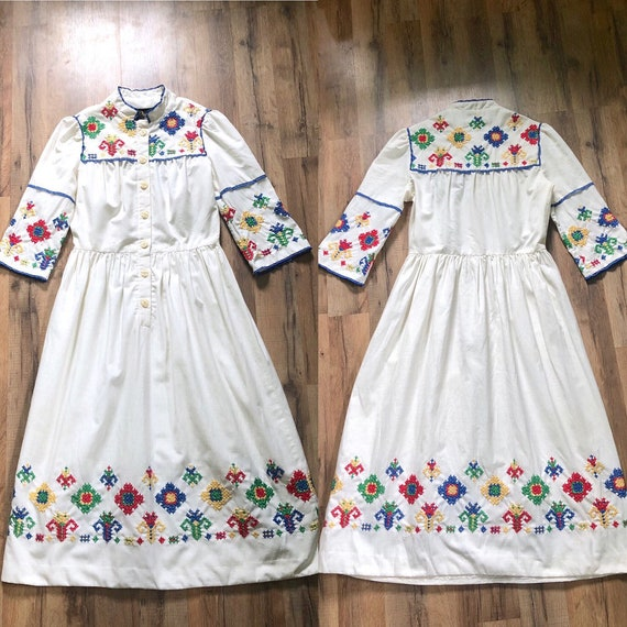 1960s peasant embroidered dress